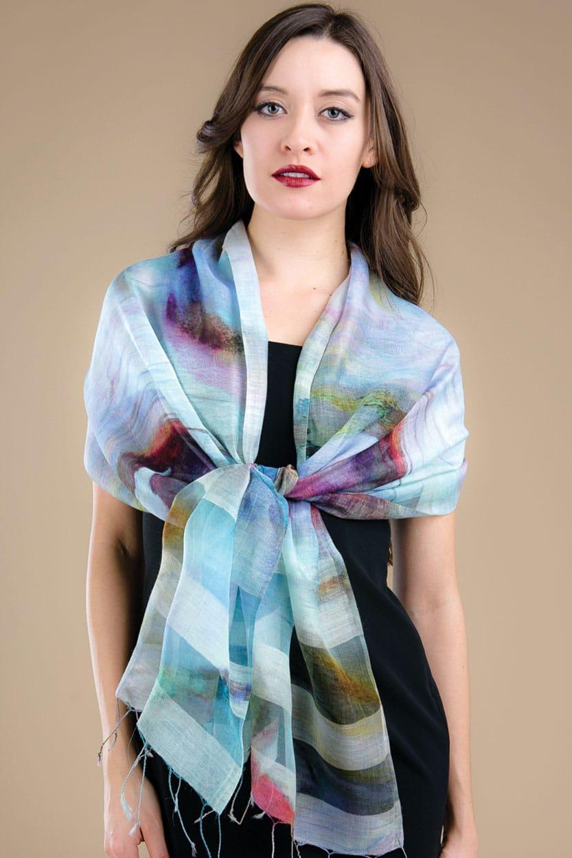 Sky Blue Silk Scarf from India Sevya Handmade Silk